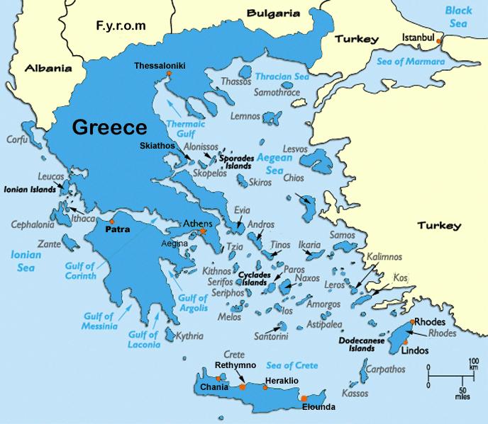 Kaart Van Griekenland Met 58 Eilanden Griekse Eilanden